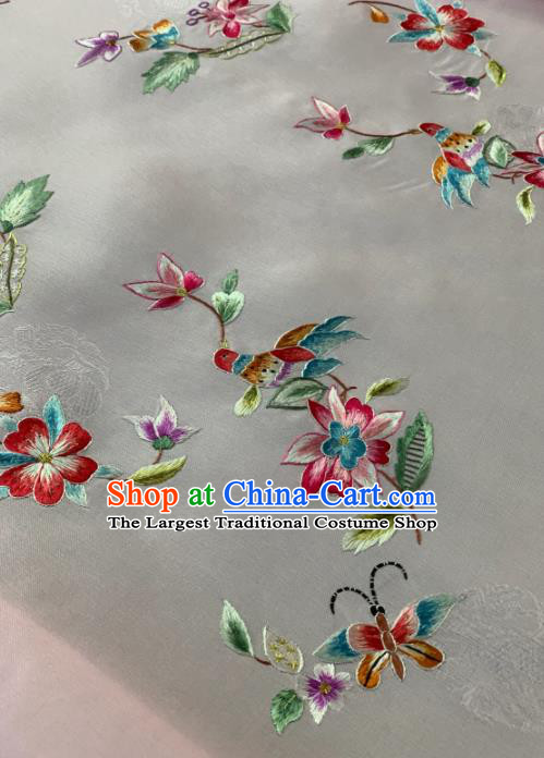 Traditional Chinese Satin Classical Embroidered Flower Bird Pattern Design White Brocade Fabric Asian Silk Fabric Material