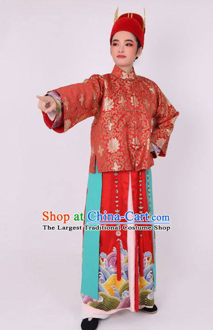 Chinese Traditional Beijing Opera Wedding Costume Ancient Bridegroom Red Clothing for Men