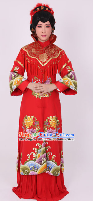 Chinese Traditional Peking Opera Wedding Costume Ancient Bride Red Dress for Women