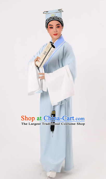 Chinese Traditional Beijing Opera Niche Costume Ancient Scholar Childe Blue Robe for Men