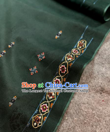 Traditional Chinese Satin Classical Embroidered Pattern Design Atrovirens Brocade Fabric Asian Silk Fabric Material