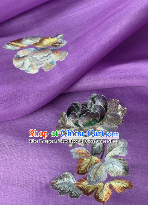 Traditional Chinese Satin Classical Embroidered Peony Pattern Design Purple Brocade Fabric Asian Silk Fabric Material