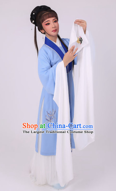 Chinese Traditional Peking Opera Diva Costume Ancient Village Girl Embroidered Blue Dress for Women