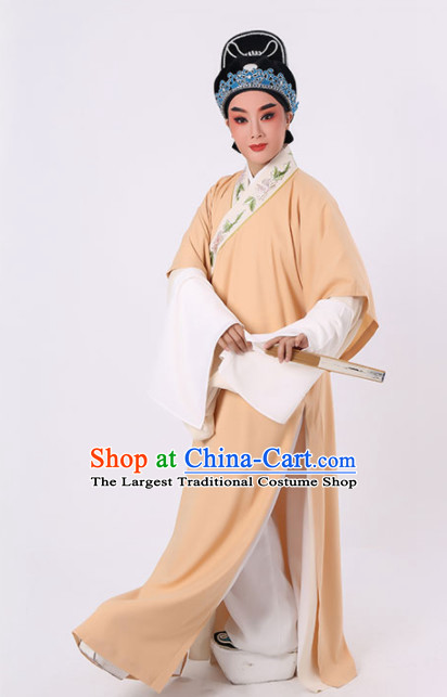 Chinese Traditional Beijing Opera Niche Costume Ancient Scholar Childe Yellow Robe for Men