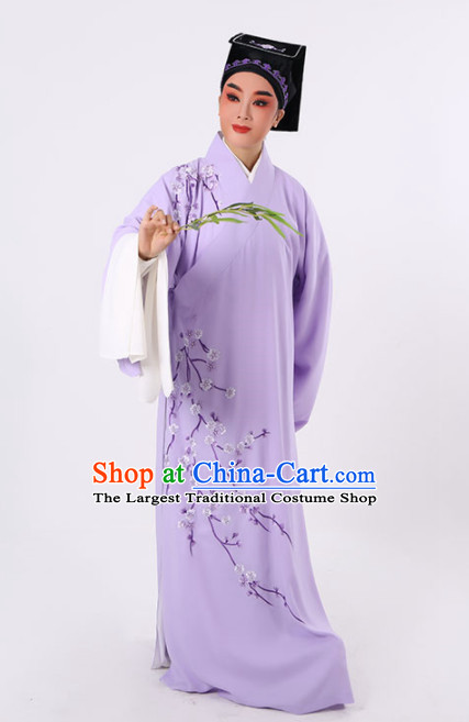 Chinese Traditional Beijing Opera Niche Costume Ancient Scholar Childe Purple Robe for Men