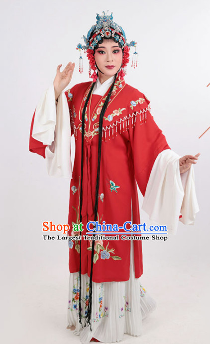 Chinese Traditional Peking Opera Actress Red Dress Ancient Imperial Consort Embroidered Costume for Women