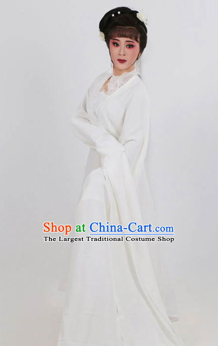 Chinese Traditional Peking Opera Actress White Dress Ancient Widow Embroidered Costume for Women