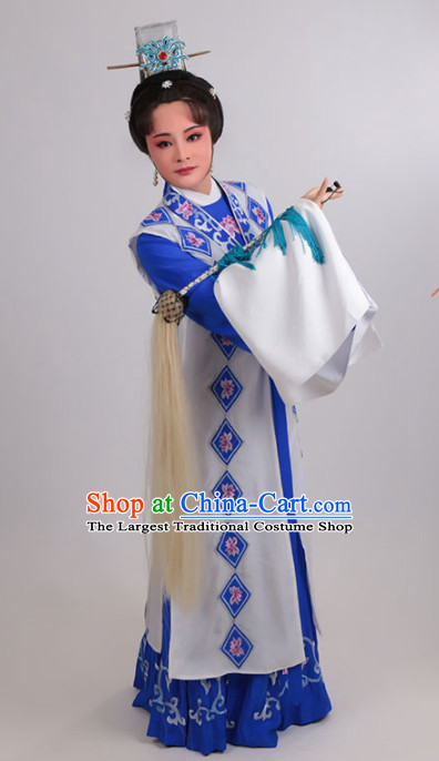 Chinese Traditional Peking Opera Actress Dress Ancient Taoist Nun Embroidered Costume for Women