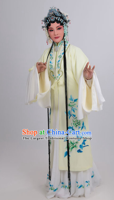 Chinese Traditional Peking Opera Actress Yellow Dress Ancient Court Lady Embroidered Costume for Women