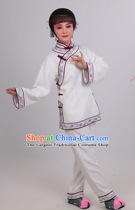 Chinese Traditional Peking Opera Actress White Clothing Ancient Young Mistress Embroidered Costume for Women