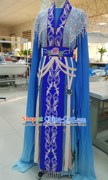 Chinese Traditional Peking Opera Actress Royalblue Dress Ancient Court Queen Embroidered Costume for Women