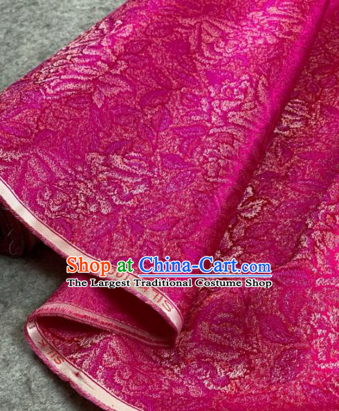 Traditional Chinese Satin Classical Pattern Design Rosy Brocade Fabric Asian Silk Fabric Material