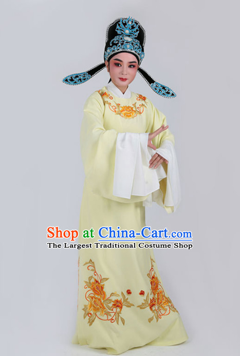 Chinese Traditional Beijing Opera Niche Yellow Embroidered Robe Ancient Scholar Childe Costume for Men