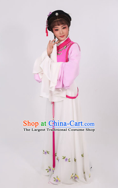 Chinese Traditional Peking Opera Young Lady Rosy Dress Ancient Maidservants Embroidered Costume for Women