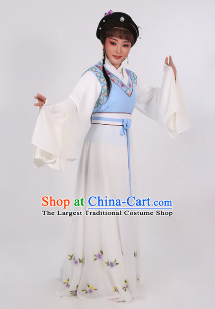 Chinese Traditional Peking Opera Young Lady Blue Dress Ancient Maidservants Embroidered Costume for Women