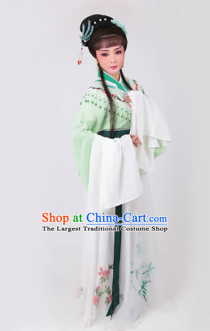Chinese Traditional Peking Opera Actress Green Water Sleeve Dress Ancient Court Lady Embroidered Costume for Women