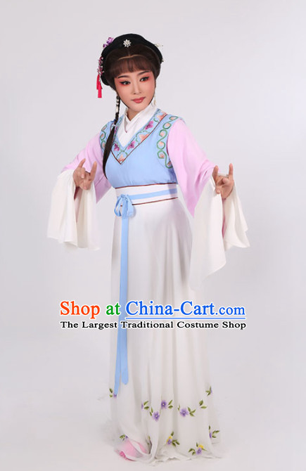 Chinese Traditional Peking Opera Young Lady Dress Ancient Maidservants Embroidered Costume for Women