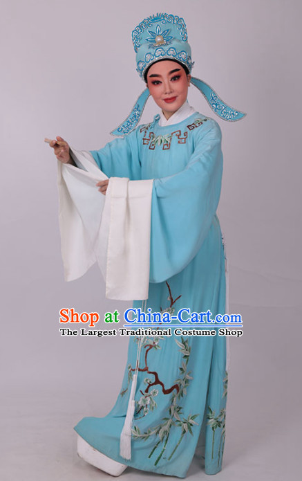 Chinese Traditional Beijing Opera Niche Embroidered Blue Robe Ancient Scholar Costume for Men