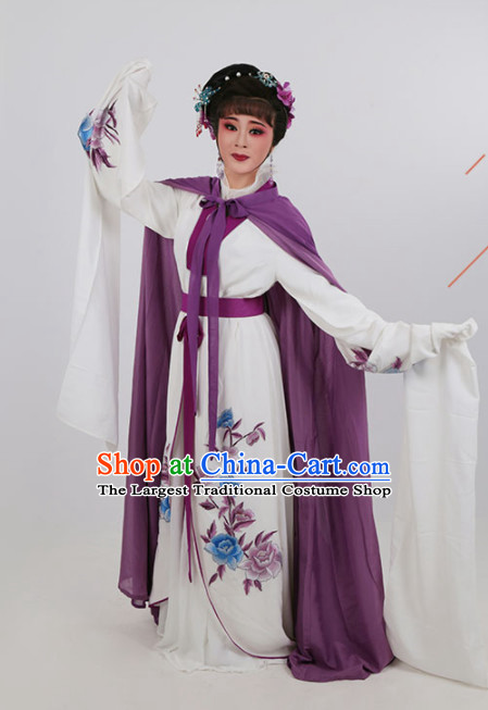 Chinese Traditional Peking Opera Actress White Dress Ancient Nobility Lady Embroidered Costume for Women