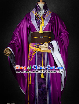 Chinese Traditional Cosplay King Royal Highness Purple Costume Ancient Swordsman Hanfu Clothing for Men