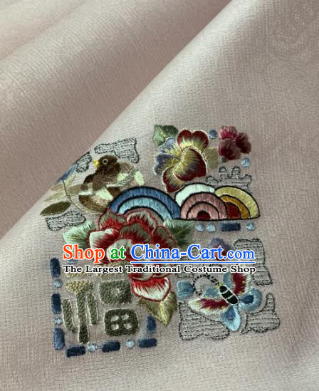 Traditional Chinese Satin Classical Embroidered Peony Pattern Design White Brocade Fabric Asian Silk Fabric Material