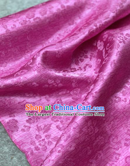 Traditional Chinese Satin Classical Flowers Pattern Design Rosy Brocade Fabric Asian Silk Fabric Material
