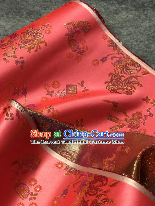 Traditional Chinese Satin Classical Chrysanthemum Pattern Design Watermelon Red Brocade Fabric Asian Silk Fabric Material
