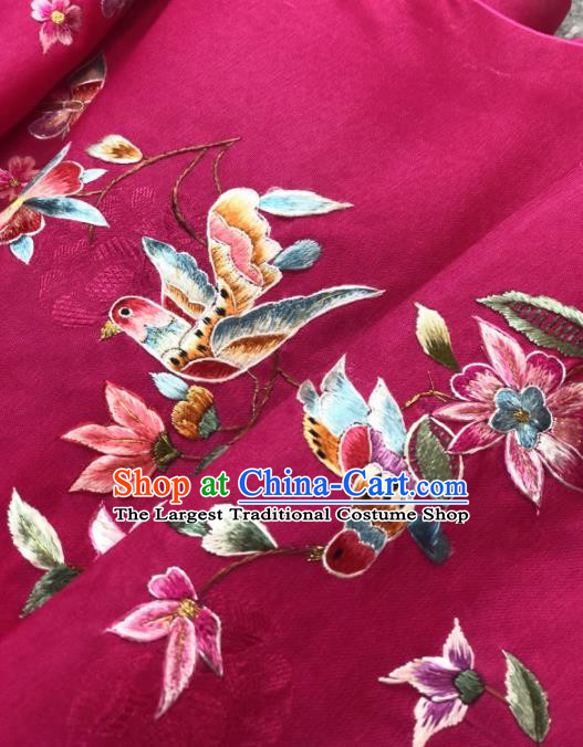 Traditional Chinese Satin Classical Embroidered Bird Flowers Pattern Design Rosy Brocade Fabric Asian Silk Fabric Material