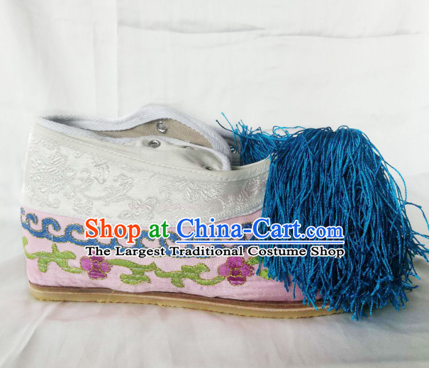 Chinese Traditional Beijing Opera Diva Shoes Ancient Princess Pink Embroidered Shoes for Women