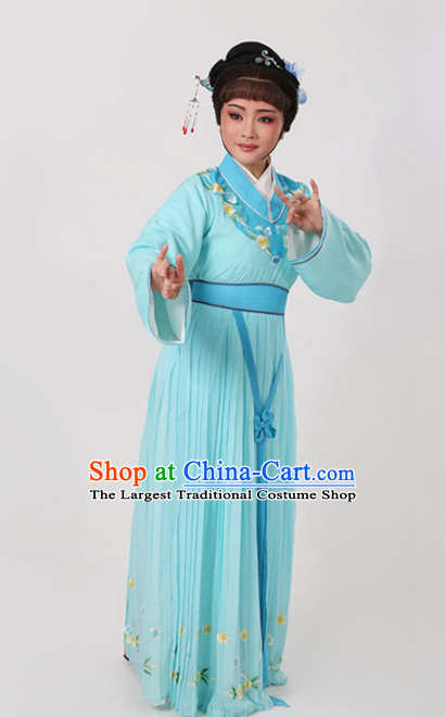 Chinese Traditional Peking Opera Actress Light Blue Dress Ancient Nobility Lady Embroidered Costume for Women