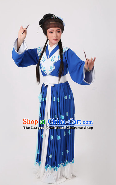 Chinese Traditional Peking Opera Actress Royalblue Dress Ancient Nobility Lady Embroidered Costume for Women