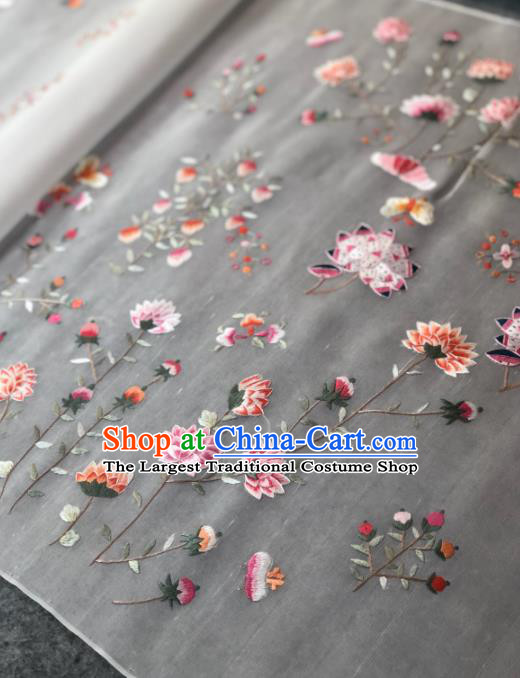 Traditional Chinese Satin Classical Embroidered Lotus Pattern Design White Brocade Fabric Asian Silk Fabric Material