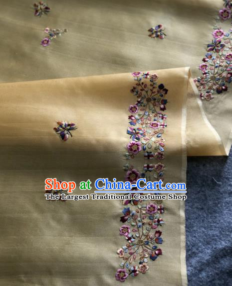 Traditional Chinese Satin Classical Embroidered Butterfly Pattern Design Yellow Brocade Fabric Asian Silk Fabric Material