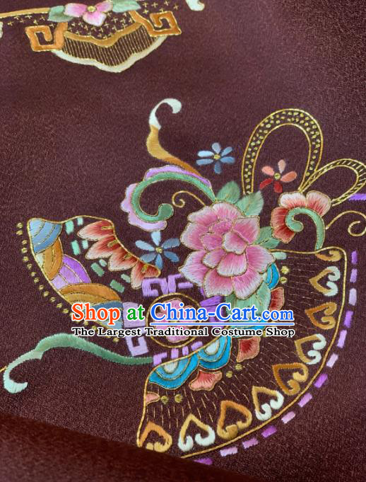 Traditional Chinese Satin Classical Embroidered Peony Pattern Design Brown Brocade Fabric Asian Silk Fabric Material