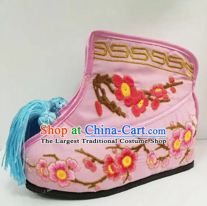 Chinese Traditional Beijing Opera Diva Pink Embroidered Boots Ancient Swordswoman Shoes for Women