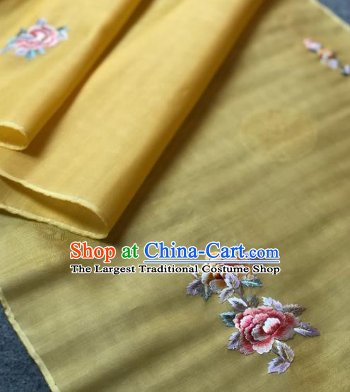 Traditional Chinese Satin Classical Embroidered Peony Pattern Design Yellow Brocade Fabric Asian Silk Fabric Material