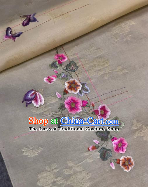 Traditional Chinese Satin Classical Embroidered Flowers Pattern Design White Brocade Fabric Asian Silk Fabric Material