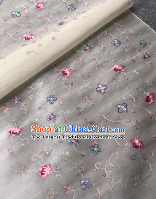 Traditional Chinese White Silk Fabric Classical Embroidered Lotus Pattern Design Brocade Fabric Asian Satin Material