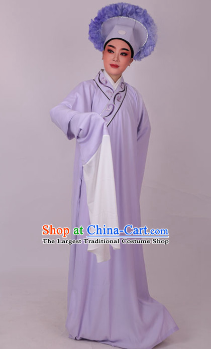 Chinese Traditional Beijing Opera Niche Nobility Childe Embroidered Purple Robe Ancient Scholar Costume for Men