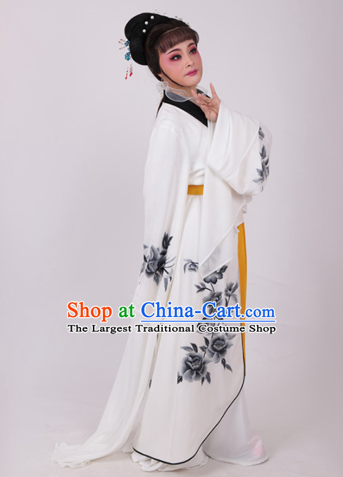 Chinese Traditional Peking Opera Actress White Water Sleeve Dress Ancient Peri Princess Embroidered Costume for Women