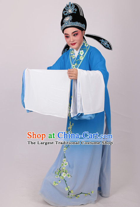 Chinese Traditional Beijing Opera Niche Embroidered Plum Blue Robe Ancient Number One Scholar Costume for Men