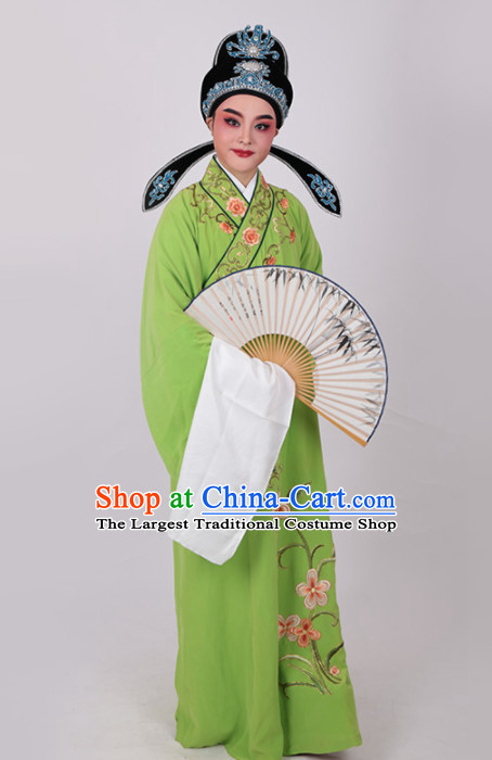 Chinese Traditional Beijing Opera Niche Nobility Childe Embroidered Green Robe Ancient Scholar Costume for Men