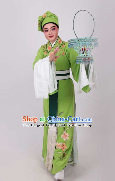 Chinese Traditional Beijing Opera Clown Embroidered Green Robe Ancient Waiter Costume for Men