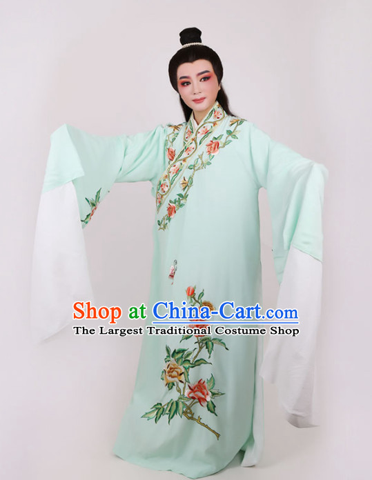 Chinese Traditional Beijing Opera Niche Scholar Embroidered Peony Green Robe Ancient Nobility Childe Costume for Men