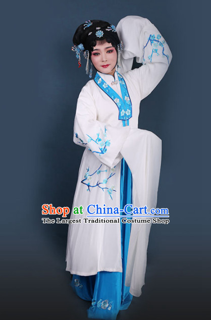 Traditional Chinese Peking Opera Diva White Dress Ancient Court Princess Embroidered Costume for Women