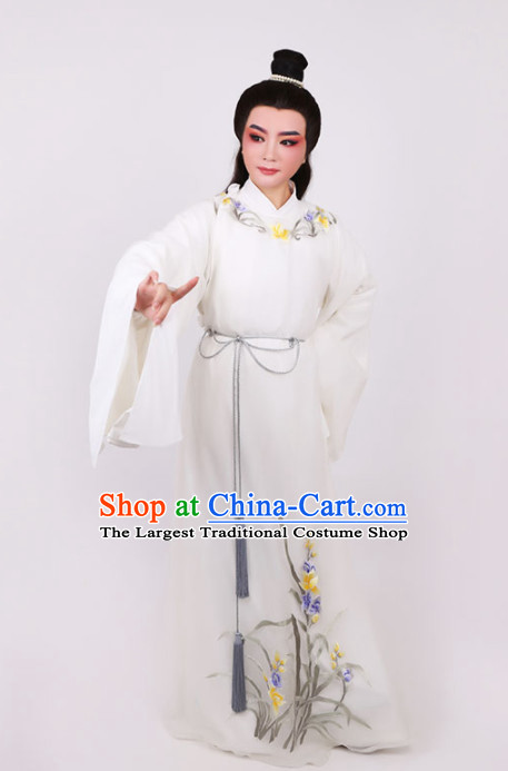Chinese Traditional Beijing Opera Niche Scholar Embroidered White Robe Ancient Nobility Childe Costume for Men