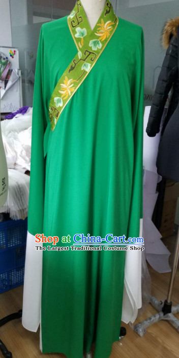 Chinese Traditional Beijing Opera Niche Embroidered Green Robe Ancient Scholar Nobility Childe Costume for Men