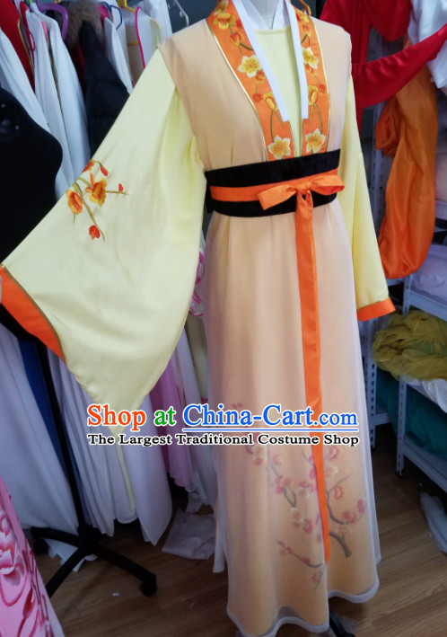 Traditional Chinese Peking Opera Nobility Lady Diva Orange Dress Ancient Court Maid Embroidered Costume for Women