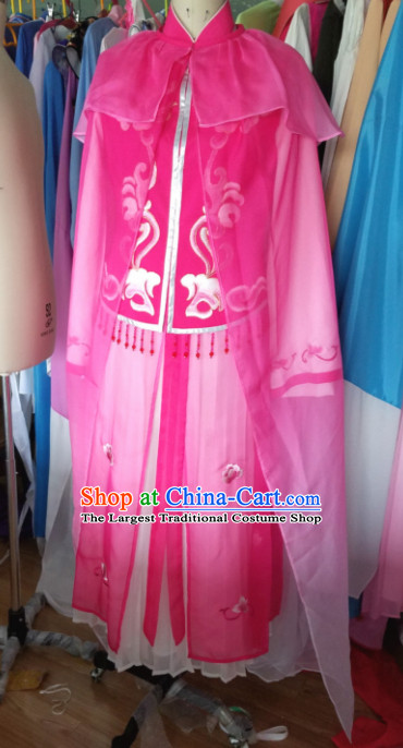 Traditional Chinese Peking Opera Nobility Lady Diva Rosy Dress Ancient Court Maid Embroidered Costume for Women