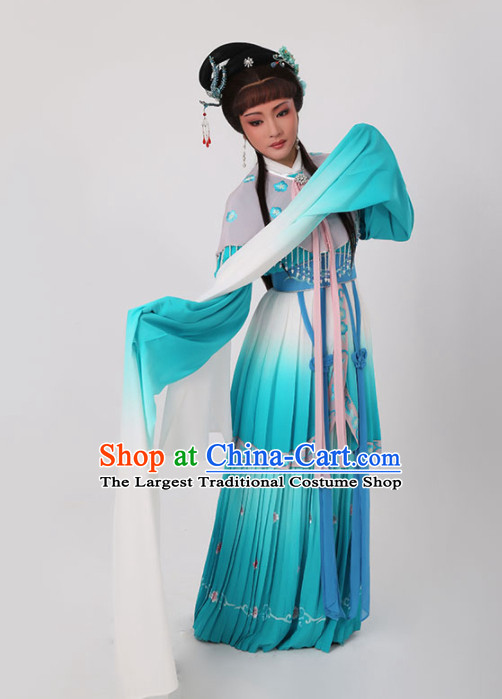 Chinese Traditional Opera Court Princess Green Dress Ancient Beijing Opera Diva Embroidered Costume for Women